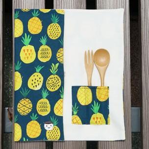 隨身餐具袋|夏日鳳梨-深海藍