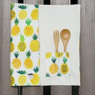隨身餐具袋|夏日鳳梨-牛奶白