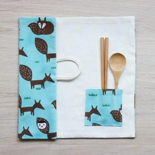 隨身餐具袋|小狐狸-冰晶藍
