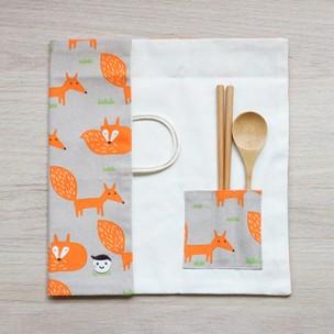 隨身餐具袋|小狐狸-太空灰