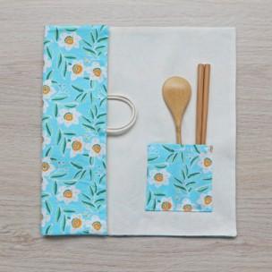 隨身餐具袋|小白花-天空藍